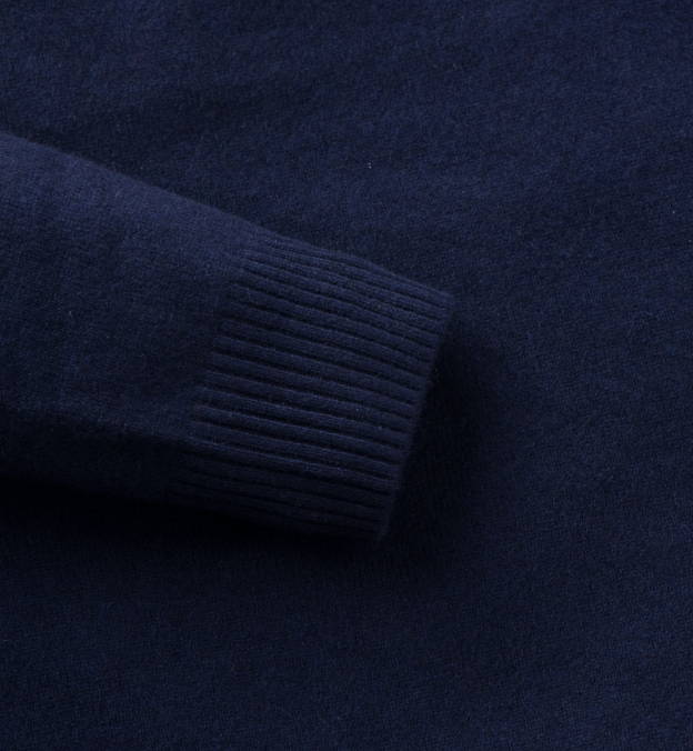 Navy Cashmere V-Neck Sweater