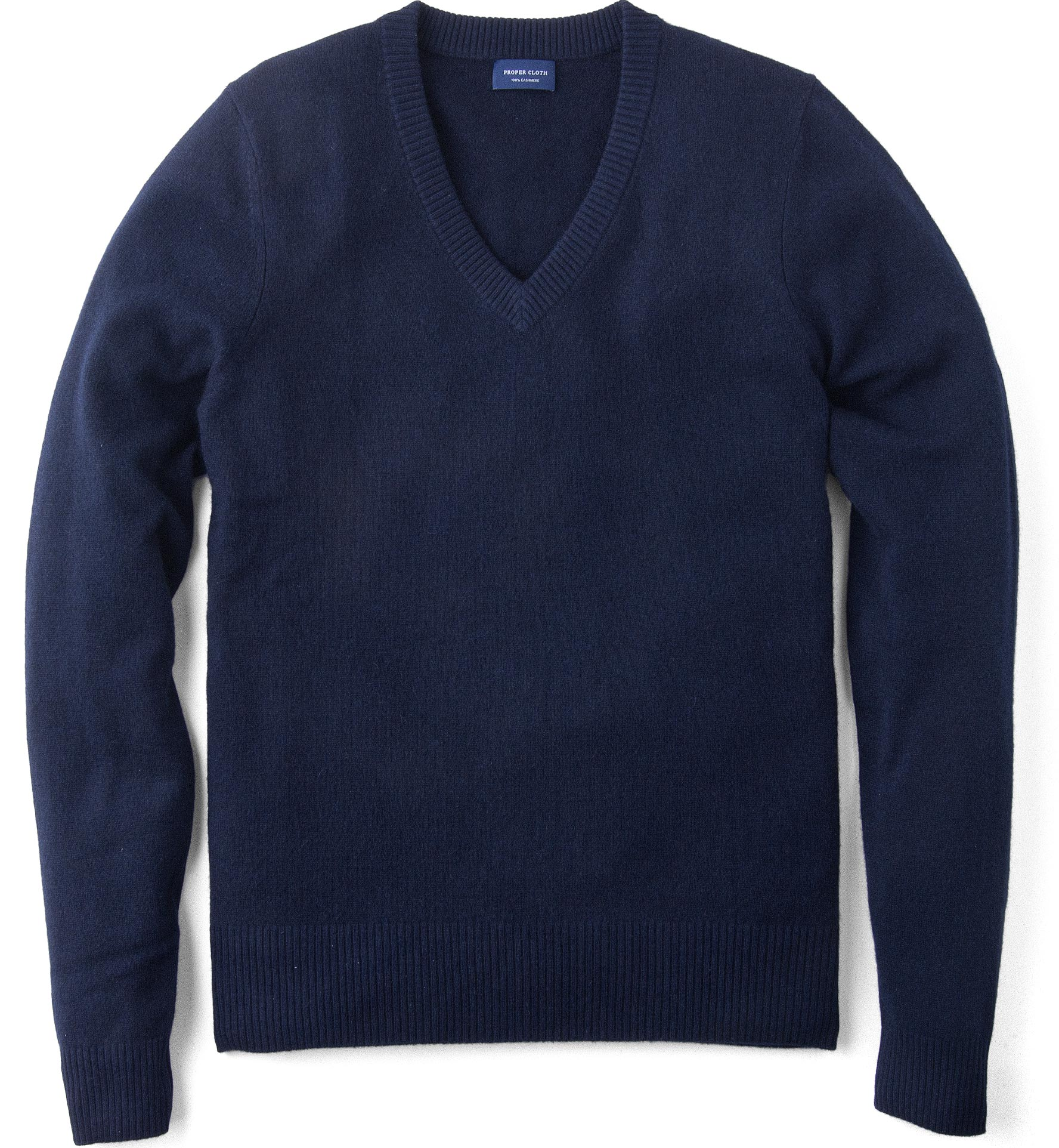 Zoom Image of Navy Cashmere V-Neck Sweater