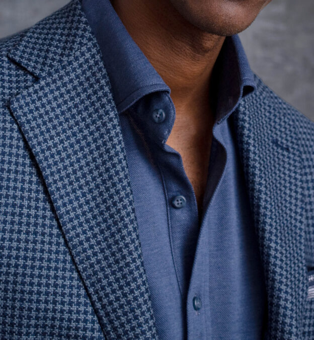 Navy Tipped Glen Plaid Cotton and Linen Pocket Square