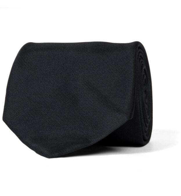 Black Silk Repp Tie