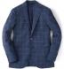 Navy Windowpane Slub Genova Jacket Product Thumbnail 1