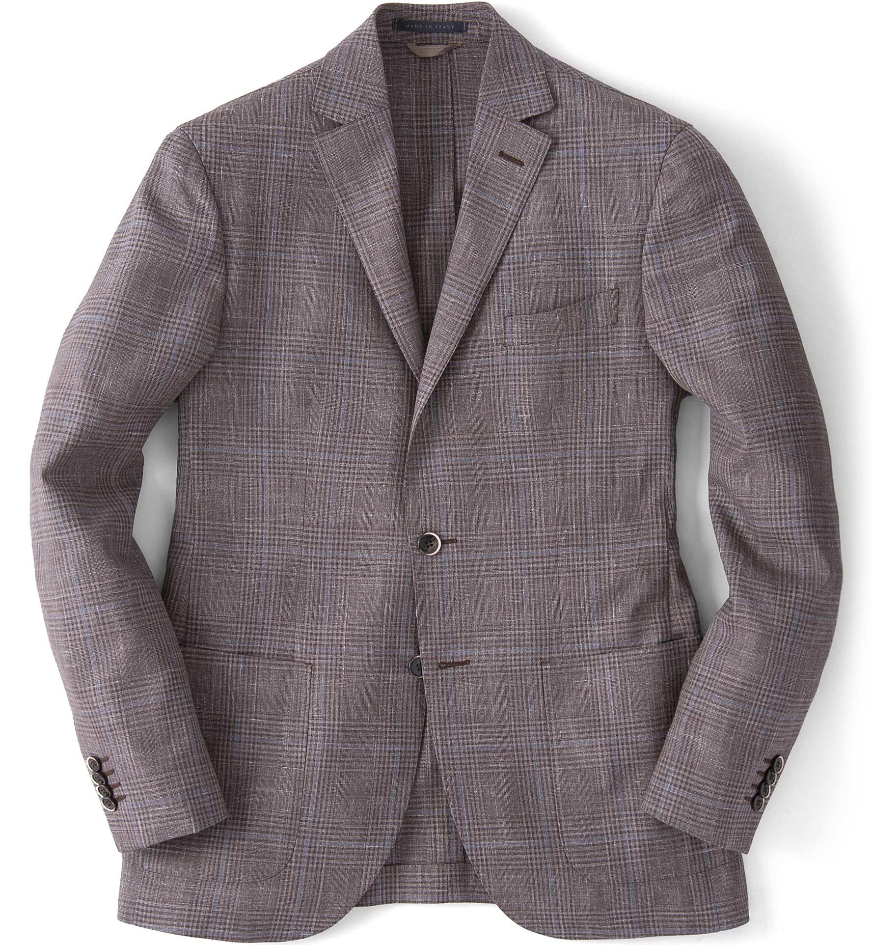 Zoom Image of Beige Glen Plaid Slub Genova Jacket