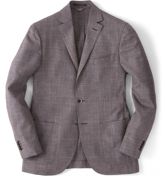 Beige Glen Plaid Slub Genova Jacket