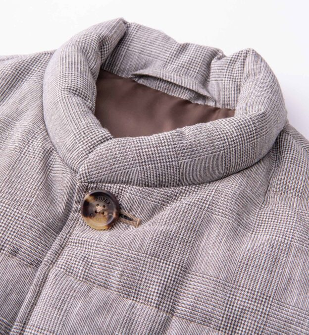 Cortina Beige Glen Plaid Wool and Linen Button Vest