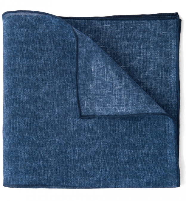 Navy Cotton Linen Pocket Square