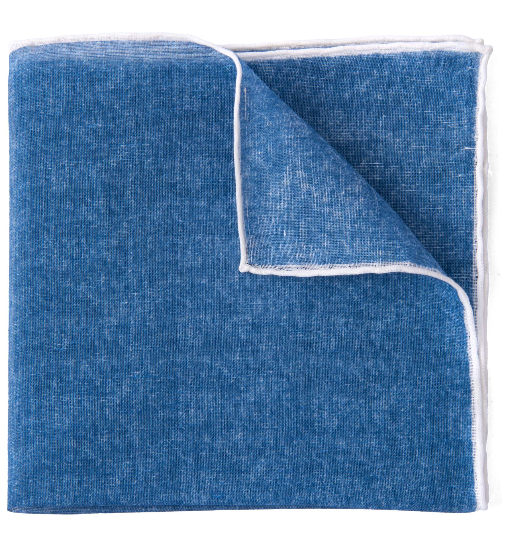 Zoom Image of Ocean Blue and White Cotton Linen Pocket Square