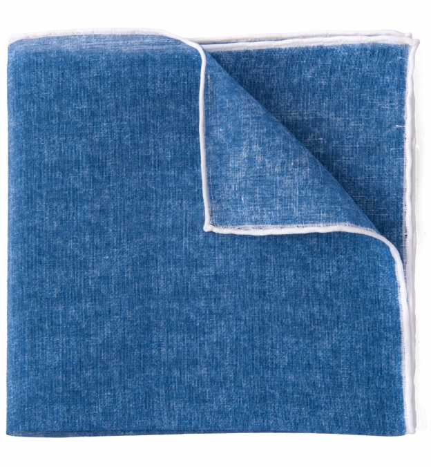 Ocean Blue and White Cotton Linen Pocket Square
