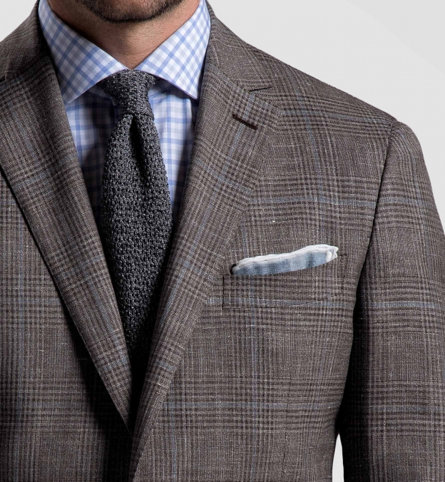 Grey and White Cotton Linen Pocket Square