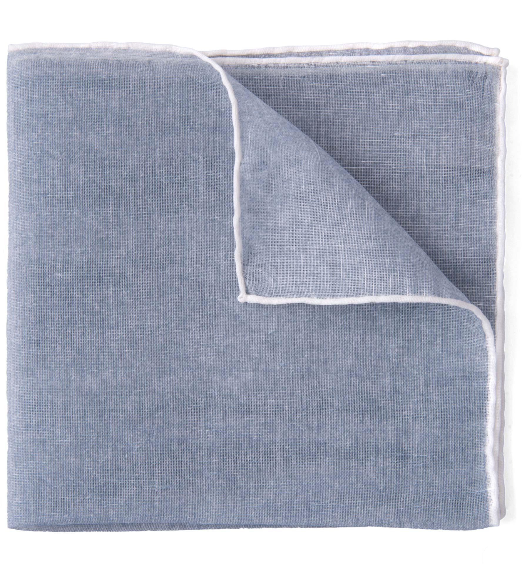 Zoom Image of Grey and White Cotton Linen Pocket Square