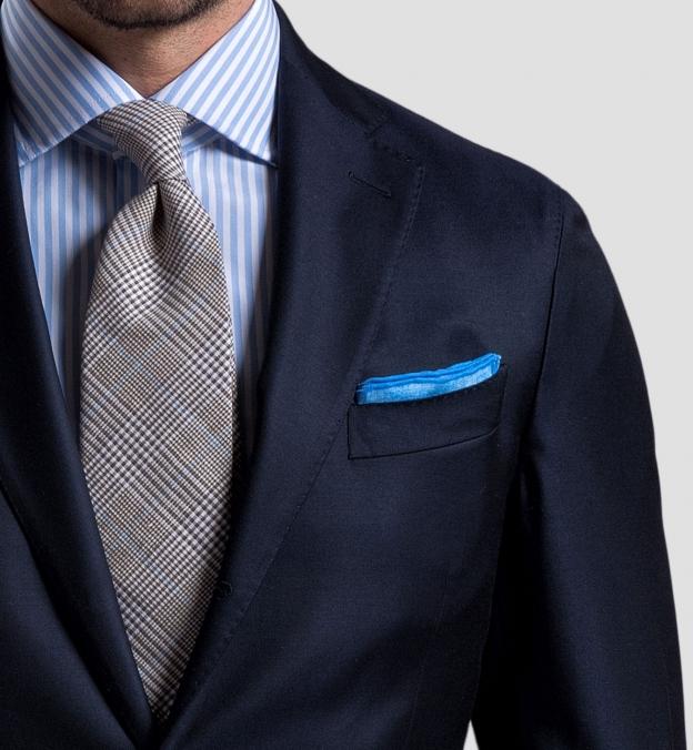 Light Blue Cotton Linen Pocket Square