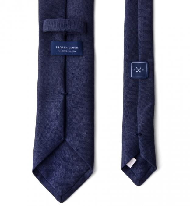 Navy Basketweave Linen Tie