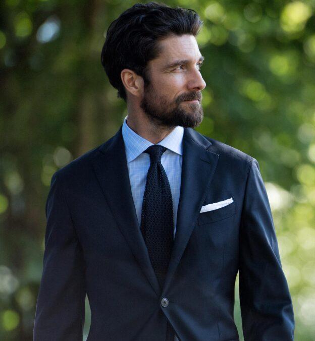 Navy Silk Knit Tie