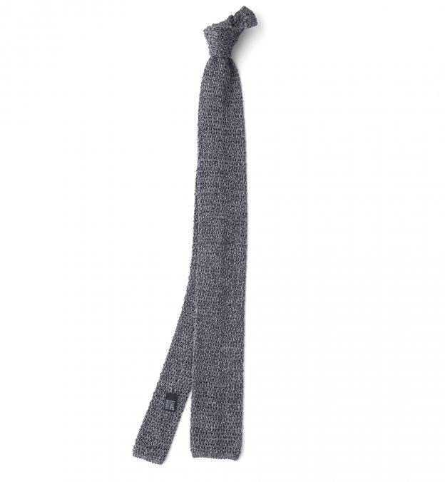 Grey Melange Silk Knit Tie