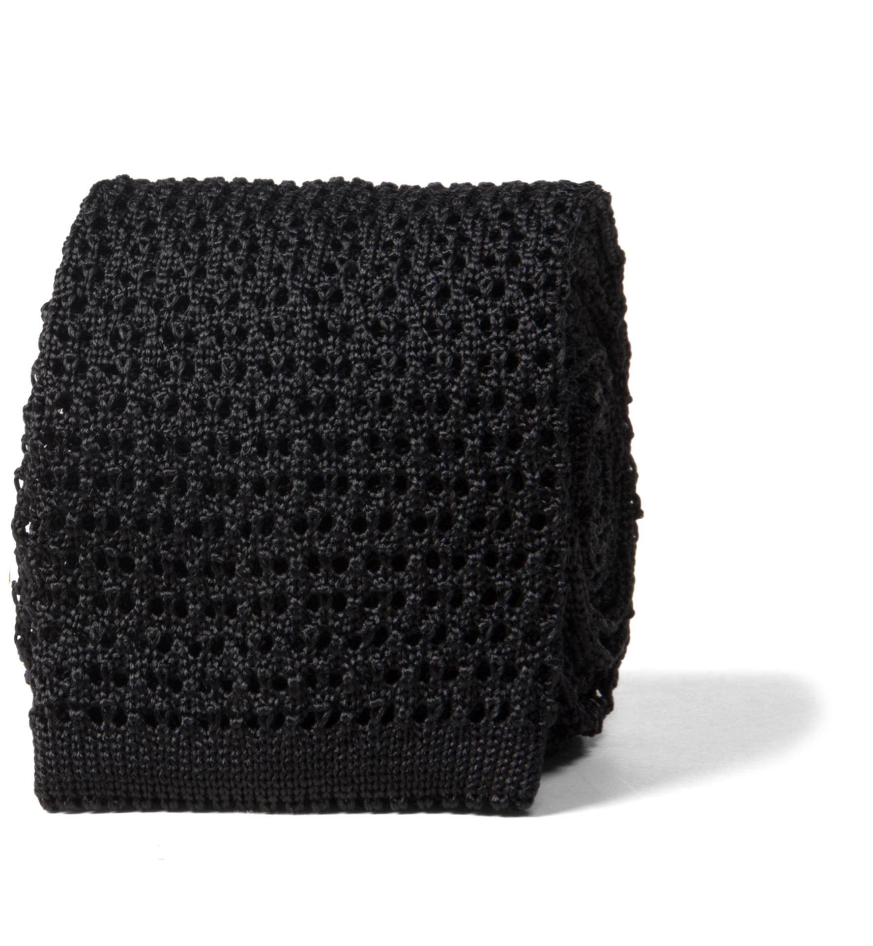 Zoom Image of Black Silk Knit Tie