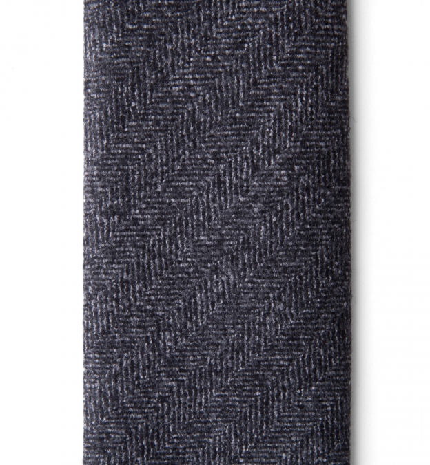 Grey Wool Herringbone Untipped Tie