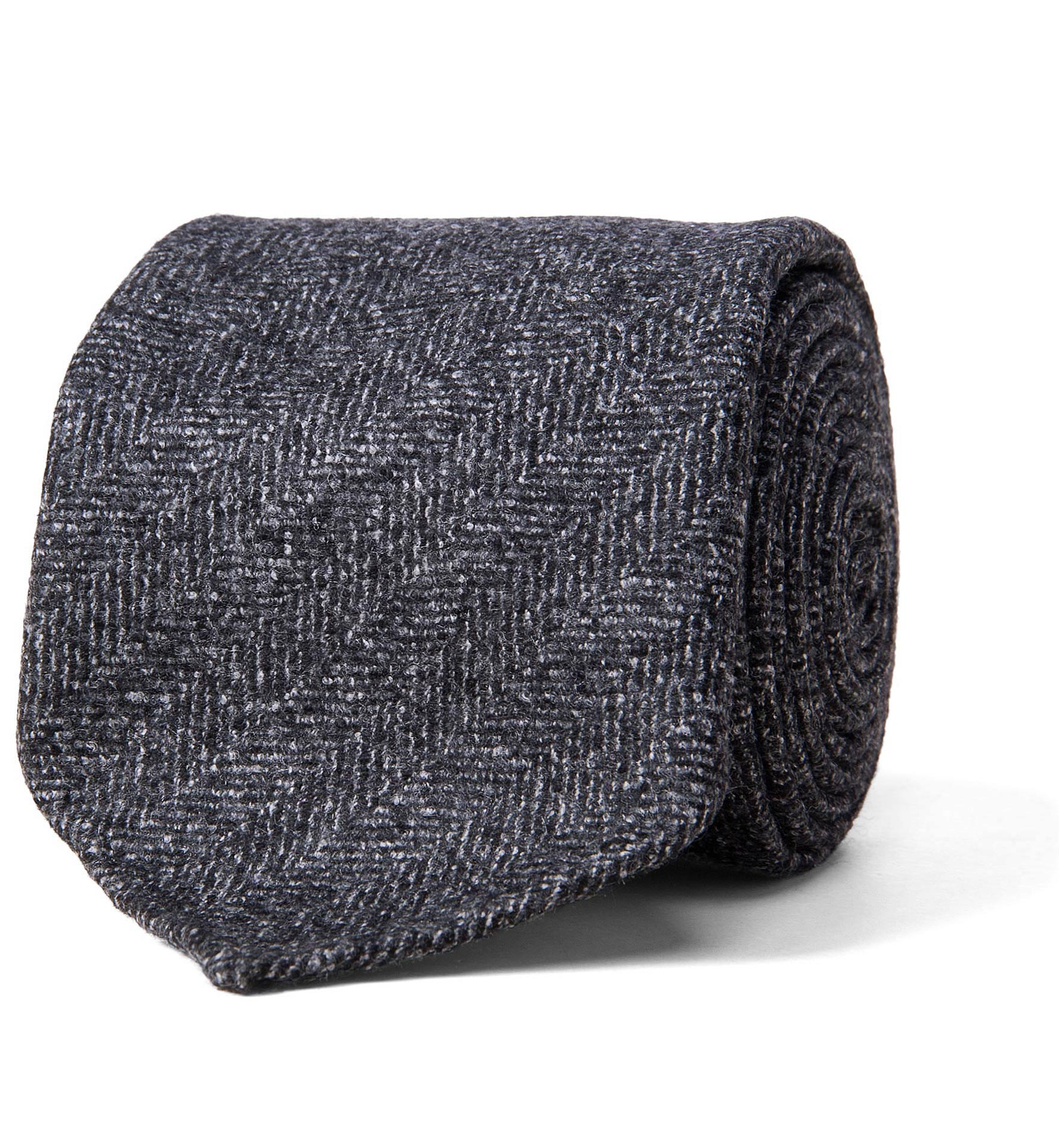 Zoom Image of Grey Wool Herringbone Untipped Tie