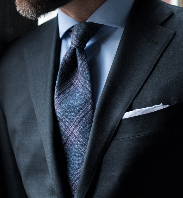 Grey and Scarlet Wool Plaid Tie