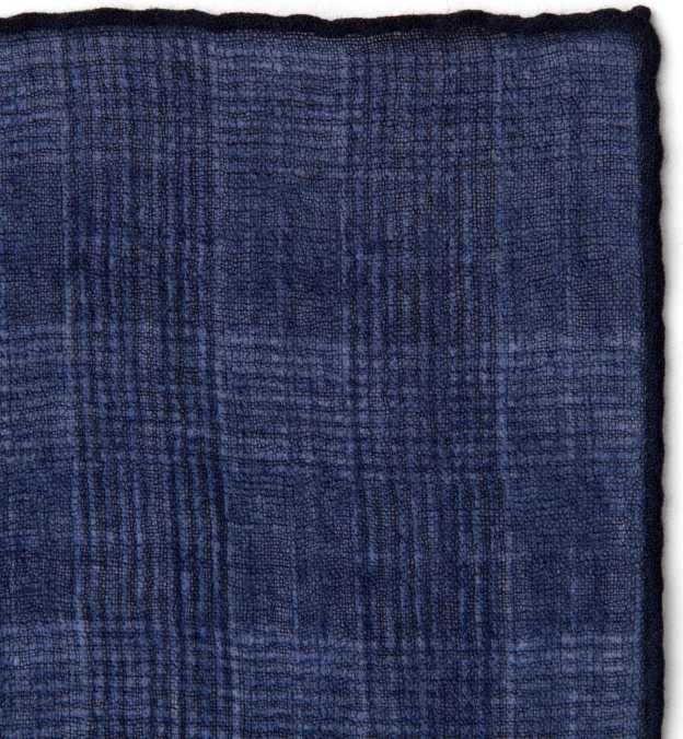 Navy Glen Plaid Wool Pocket Square