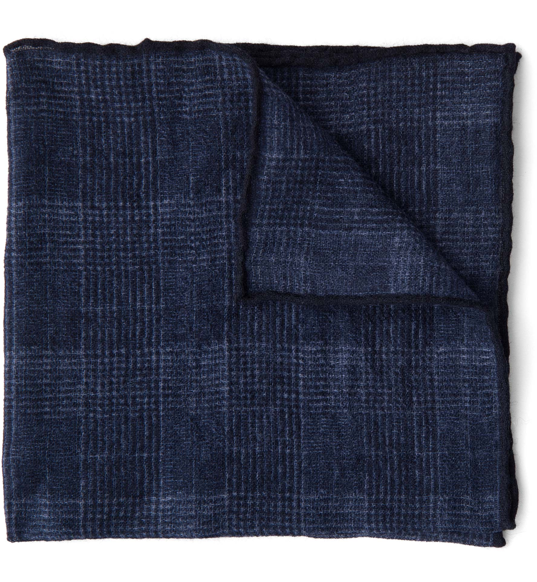 Zoom Image of Navy Glen Plaid Wool Pocket Square