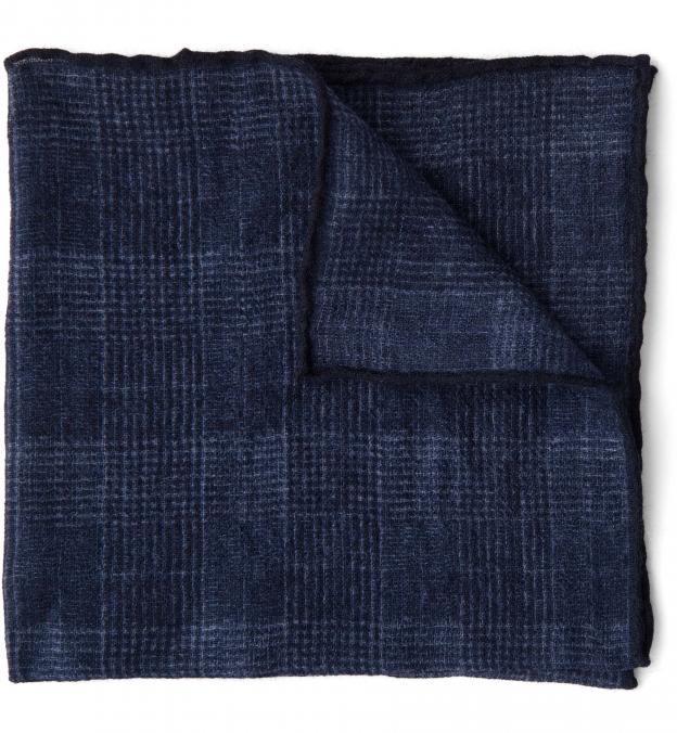 Navy Glen Plaid Wool Pocket Square