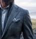 Grey Glen Plaid Wool Pocket Square Product Thumbnail 5