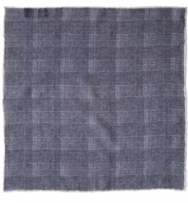 Grey Glen Plaid Wool Pocket Square