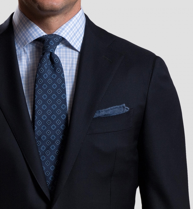 Ocean Cashmere Micro Check Pocket Square