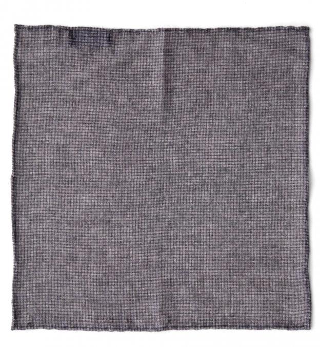 Grey Cashmere Micro Check Pocket Square