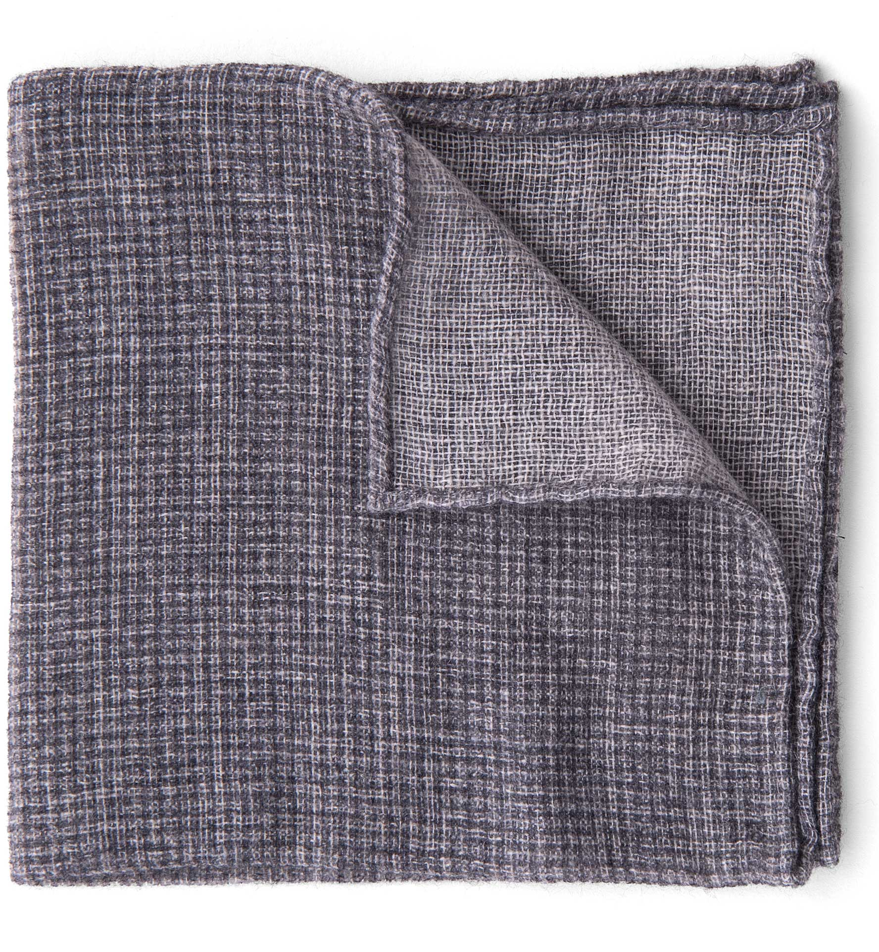 Zoom Image of Grey Cashmere Micro Check Pocket Square