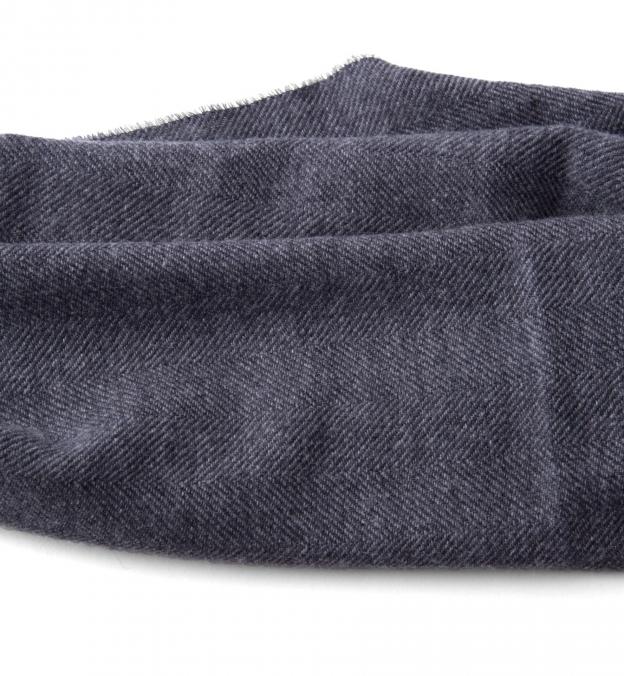 Charcoal Herringbone Wool Cashmere Scarf
