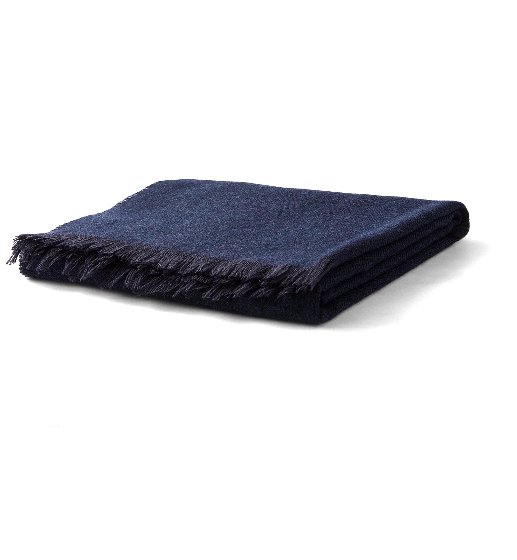Zoom Image of Navy Herringbone Wool Cashmere Scarf