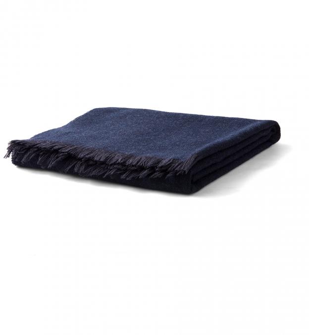 Navy Herringbone Wool Cashmere Scarf