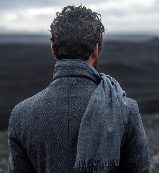 Grey Thick Cashmere Scarf