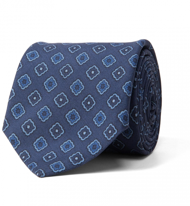 Slate Blue Foulard Print Silk Tie