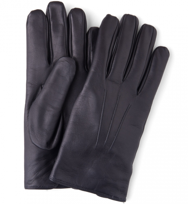 Black Leather Cashmere Lined Gloves