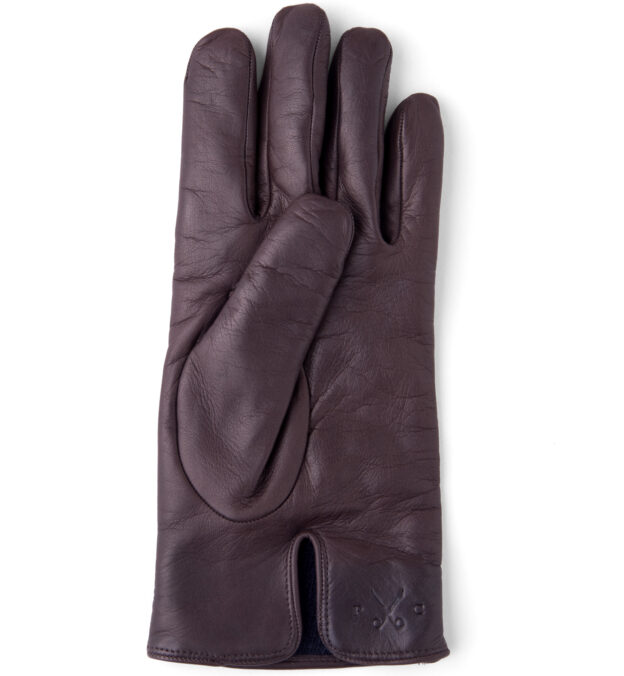 Dark Brown Leather Cashmere Lined Gloves