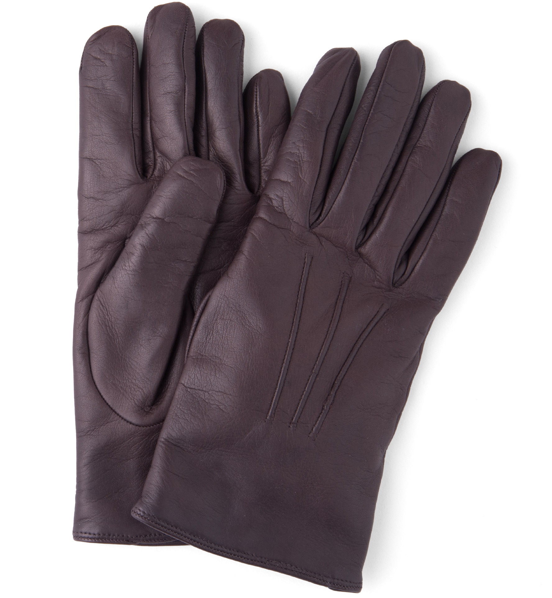 Zoom Image of Dark Brown Leather Cashmere Lined Gloves