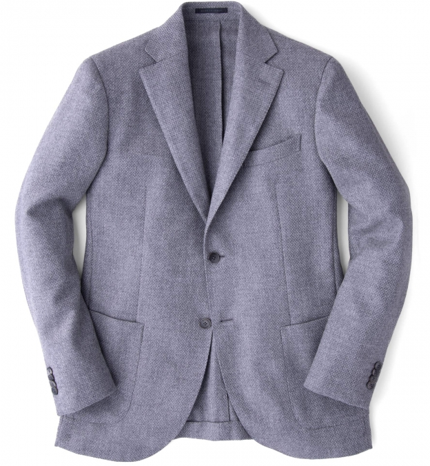 Genova Grey Wool Cashmere Basketweave Jacket