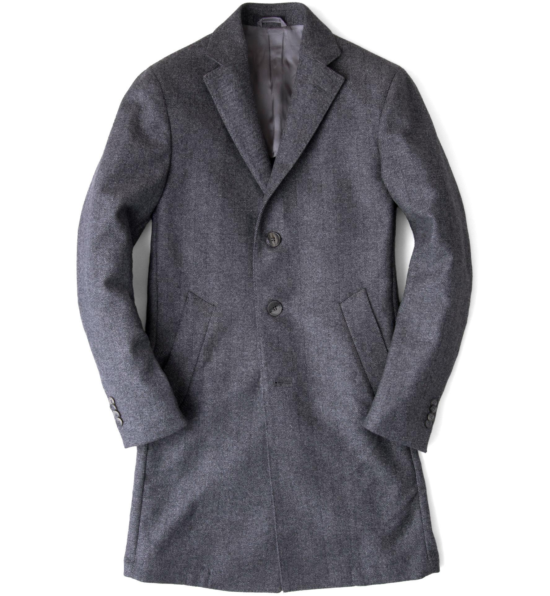 Zoom Image of Brera Grey Herringbone Wool Overcoat