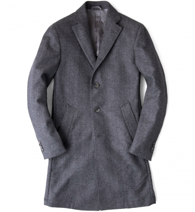 Brera Grey Herringbone Wool Overcoat
