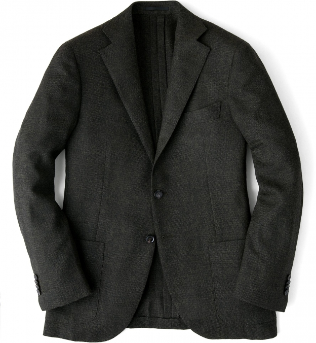 Forest Wool Cashmere Basketweave Hudson Jacket