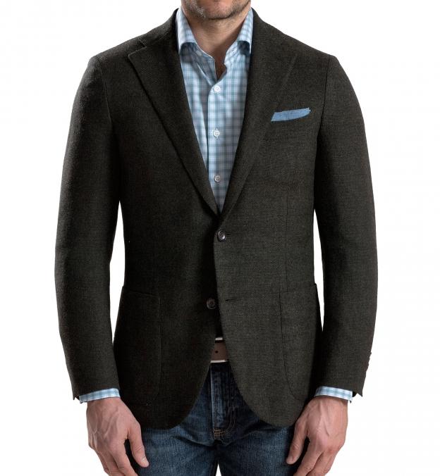 Forest Wool Cashmere Basketweave Hudson Jacket