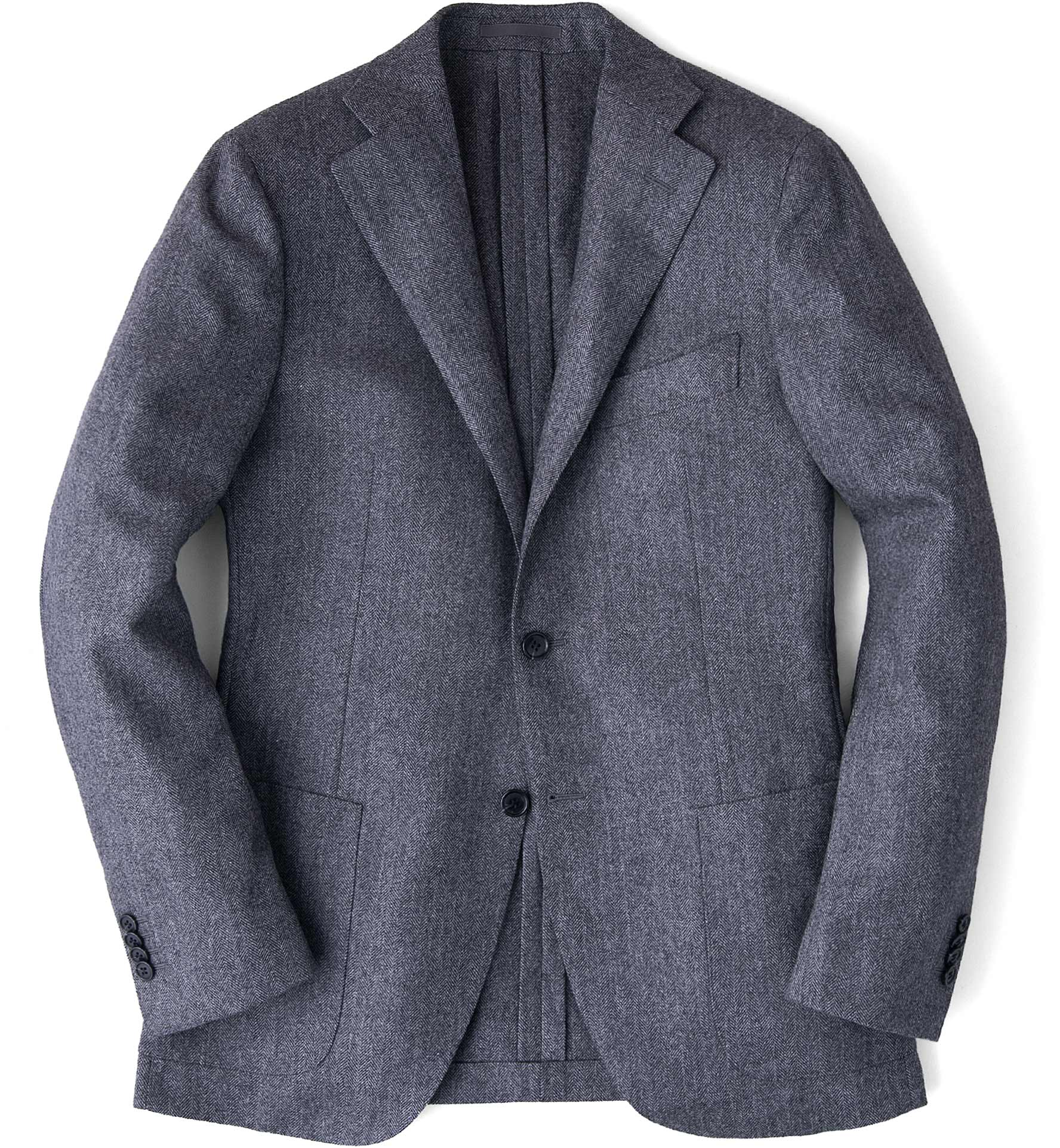 Zoom Image of Grey Wool Cashmere Herringbone Hudson Jacket