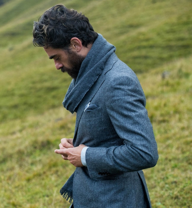 Grey Wool Cashmere Herringbone Hudson Jacket