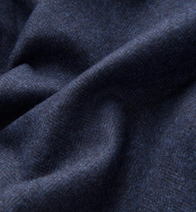 Navy Wool Cashmere Herringbone Hudson Jacket