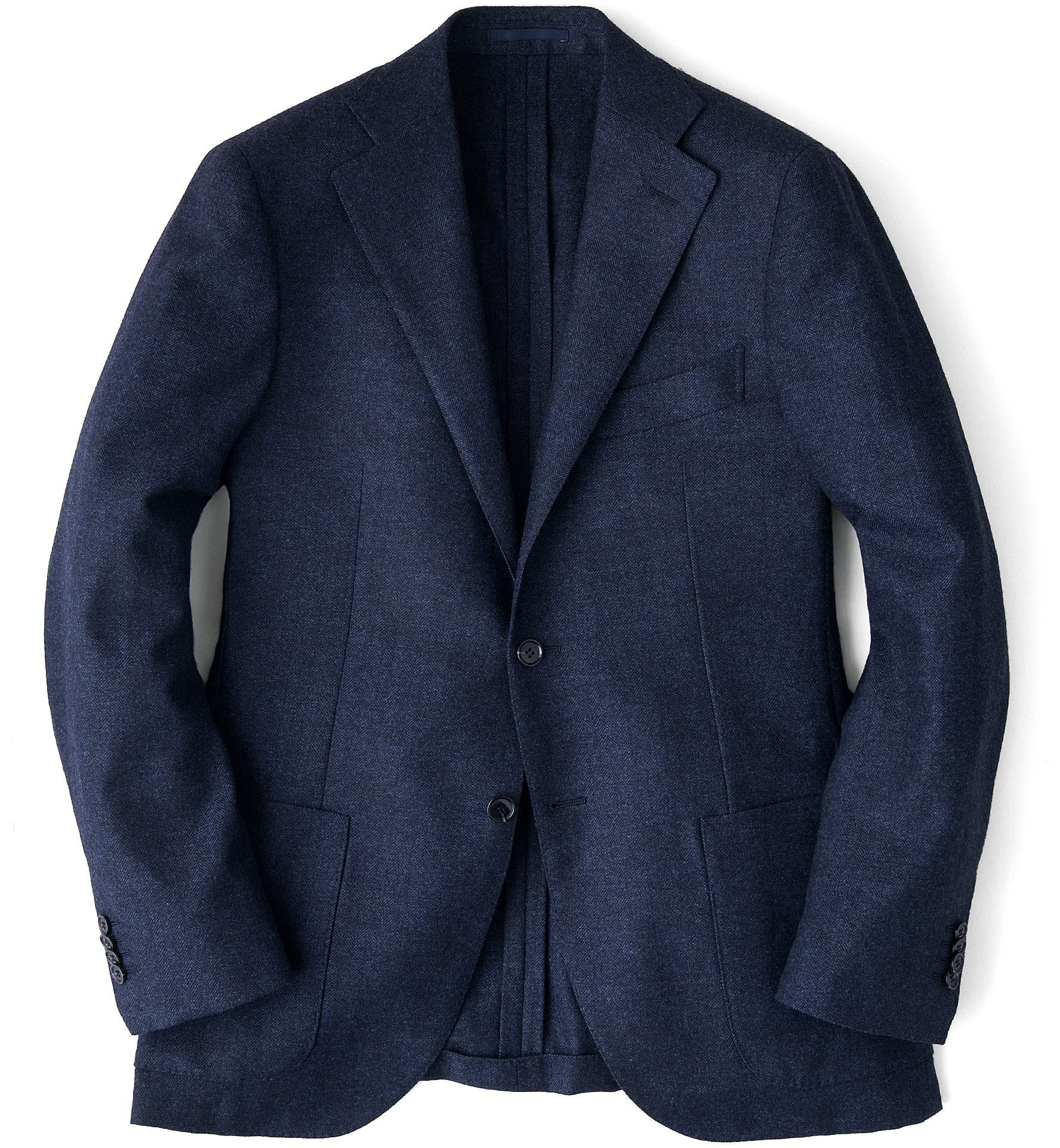 Zoom Image of Navy Wool Cashmere Herringbone Hudson Jacket