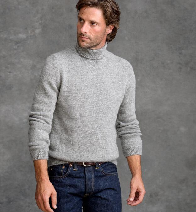 Grey Melange Wool and Alpaca Turtleneck Sweater