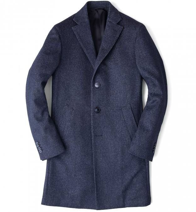 Brera Slate Blue Wool Overcoat