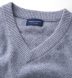 Zoom Thumb Image 1 of Light Grey Cobble Stitch Cashmere V-Neck Sweater