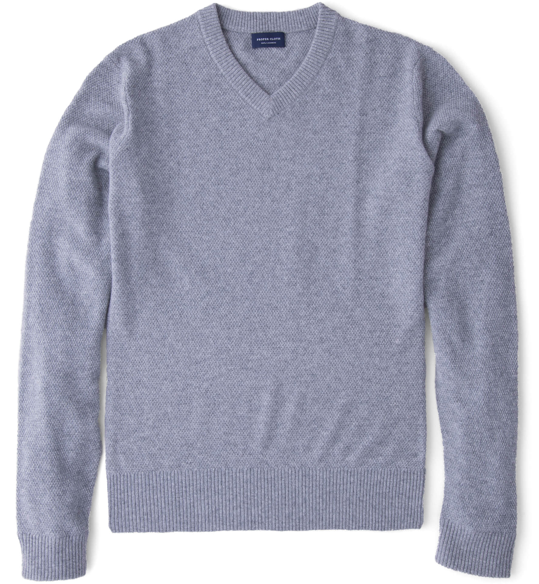 Zoom Image of Light Grey Cobble Stitch Cashmere V-Neck Sweater